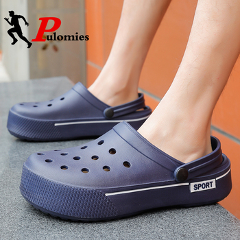 PULOMIES Summer Men and Women Sandals Men Slippers Casual Home Slippers Chunky Platform Clogs Couple Garden Shoes Beach Sandals фото