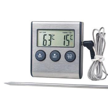 Cyfrowa kuchenna termometr LCD wyświetlacz długa sonda do grilla piekarnik jedzenie mięso minutnik kuchenny Timer narzędzia pomiarowe tanie i dobre opinie OOTDTY REGULATOR TEMPERATURY NONE CN (pochodzenie) Food Thermometer 120 ° C i Powyżej DIGITAL Gospodarstwo domowe Bateria AAA