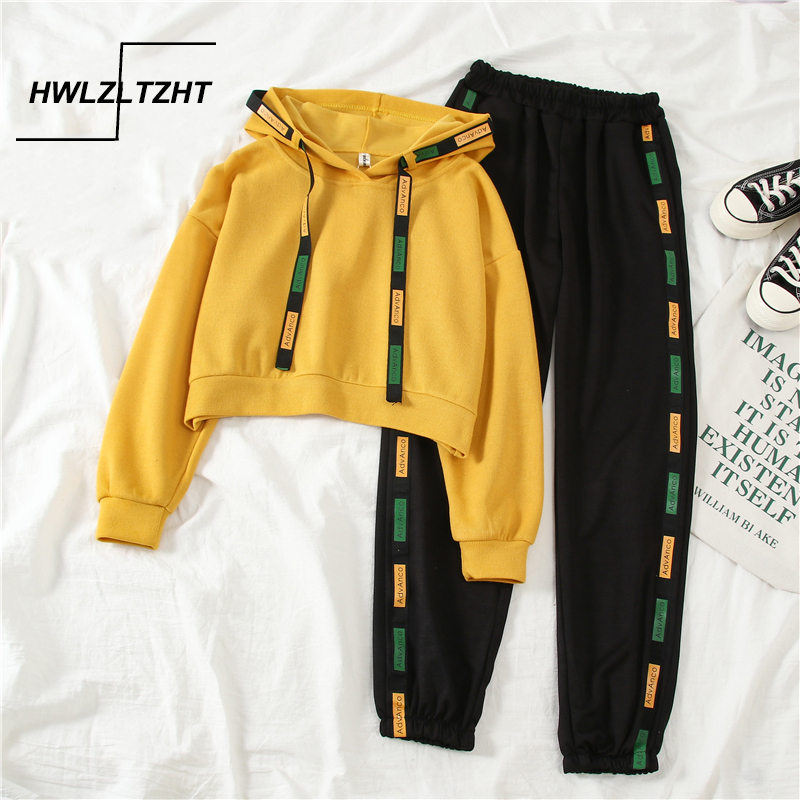 Autumn Women Sports 2 Piece Sets Casual Streetwear Short Hooded Pullover Elastic Letter Printed Trousers Women Tracksuit