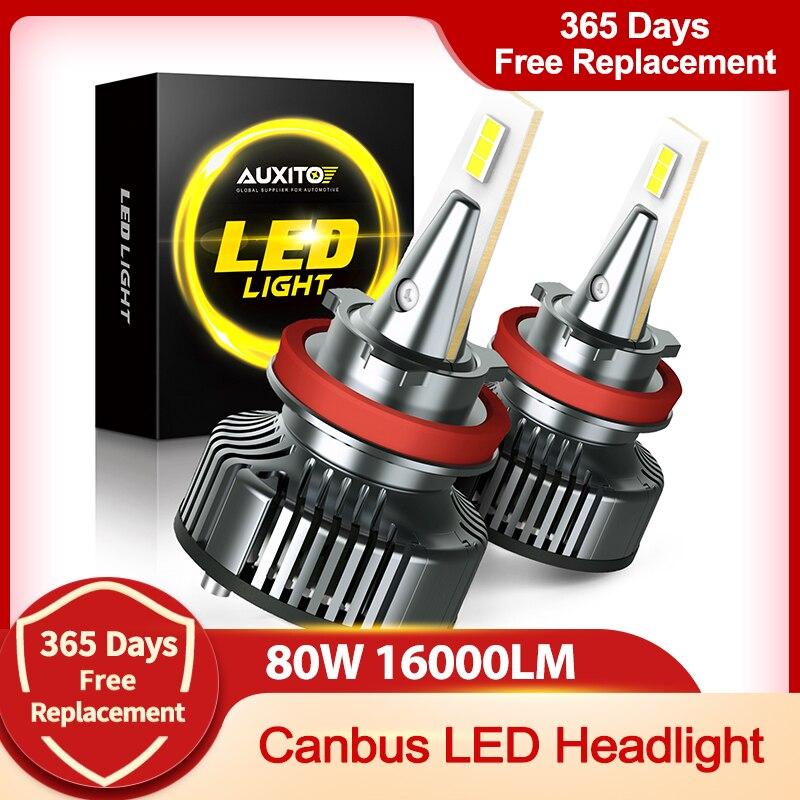 Светодиодные лампы H4 LED H11 H8 9005 9006 H9 HB3 9003 9012 Canbus для фар автомобиля, 16 000 лм, 80 Вт, 6500 К, 12 В, 24 В, автомобильная лампа без радиошума