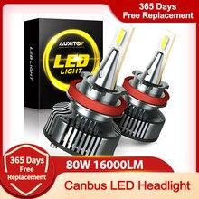 Diodo emissor de luz h4 h11 h8 9005 9006 h9 hb3 9003 9012 canbus farol lâmpada do carro 16000lm 80w 6500k 12v 24v auto lâmpada sem ruído de rádio