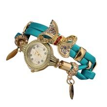 Motyl Retro Rhinestone zegarki na rękę prosta bransoletka damska zegarki damskie piękne prezenty ślubne zegarki kwarcowe Reloj Mujer tanie tanio Cyfrowy NONE Skóra wdrażania wiadro CN (pochodzenie) ALLOY Nie wodoodporne Moda casual ROUND Brak Szkło Watch 24cm