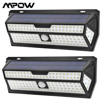 цена на Mpow 132 LED Solar Garden Lights 1810LM PIR Motion Sensor Lamp Outdoor Emergency Security Light IP65 Waterproof Solar Wall Lamp