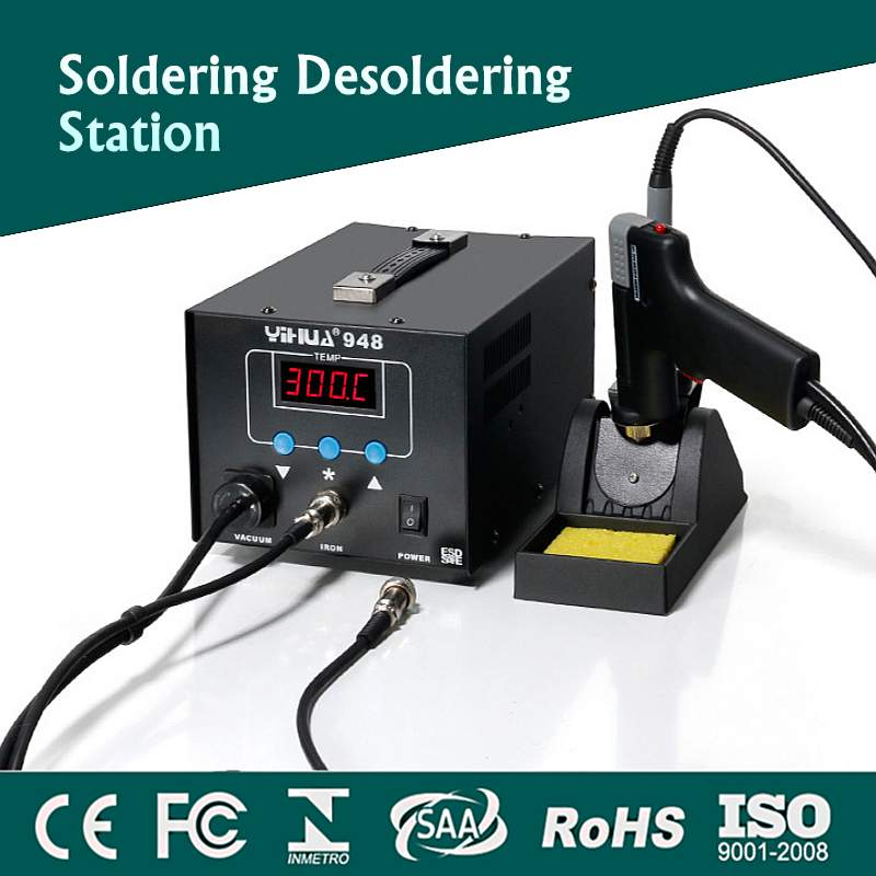Mini Digital Soldering Station+Hot Air Guns Electronic Welding Iron Soldering Iron Rework Desoldering Station YIHUA-948