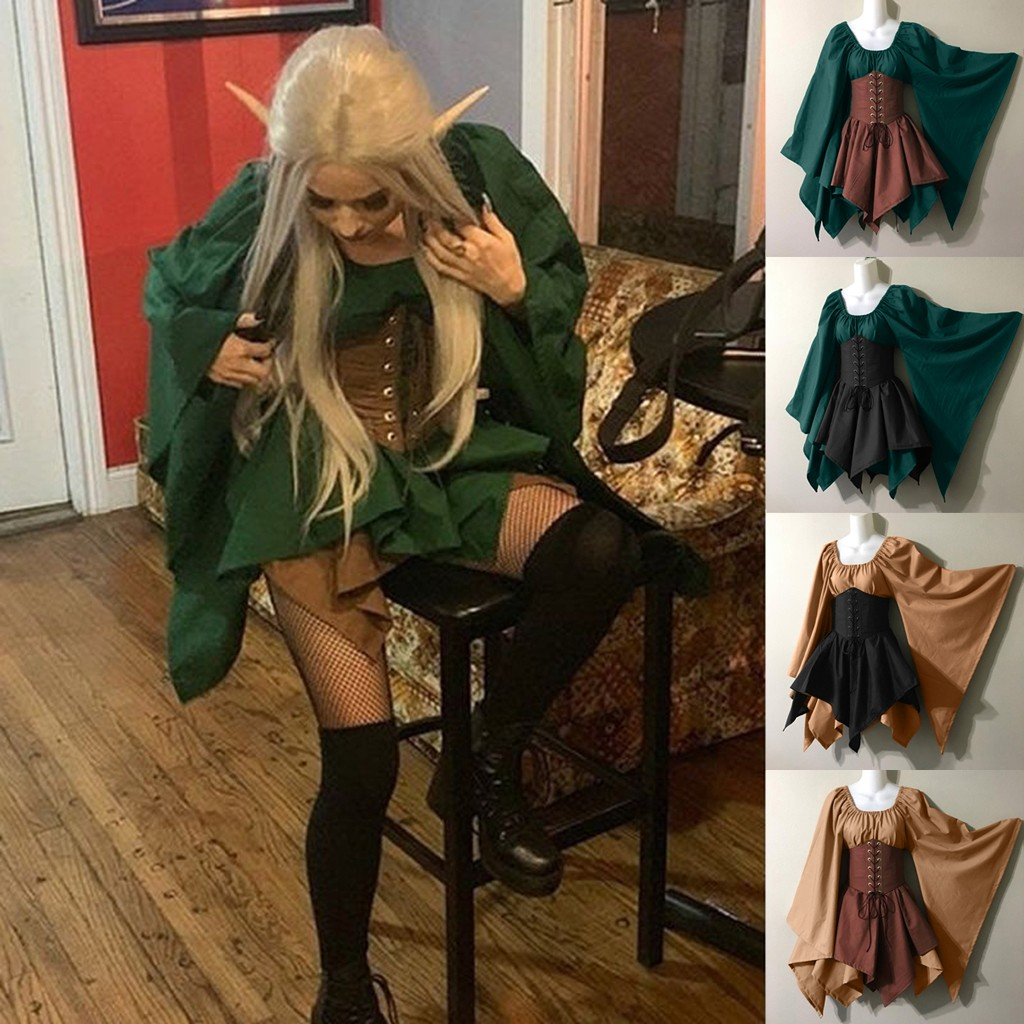 Autumn New Fashion Vintage Halloween Women Medieval Cosplay Costumes Gothic Retro Long Sleeve Corset Flare Sleeve