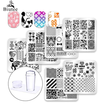 цена на Biutee 6 Pcs Square Nail Stamping Plates Set Lace Flower Animal Pattern Nail Art Stamp Template Image Plate Stencils Tool Kits
