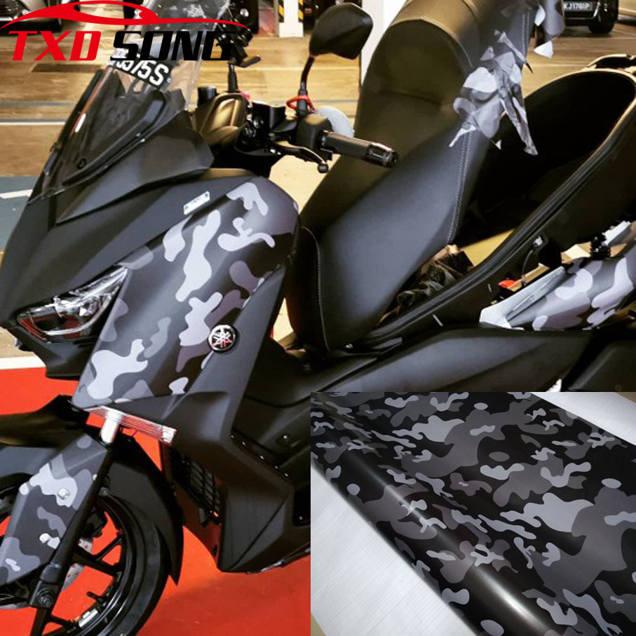 Good quality Black <font><b>Camouflage</b></font> Car Vinyl Wrap Film Roll Foil <font><b>Sticker</b></font> Sheet Bubble Free <font><b>Bike</b></font> Console Computer Motor image