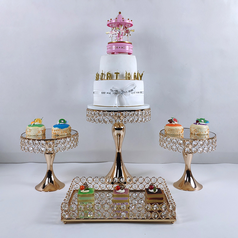 4 6 or argent haute qualité gâteau support ensemble or cristal métal Cupcake décorations Dessert piédestal fête mariage gâteau support - 3