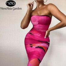 NewAsia Mesh Midi Dress Women Strapless Slim Fit Bodycon Ruched Party Dresses Summer Chic Geometric Print Sexy Dress 2020 New