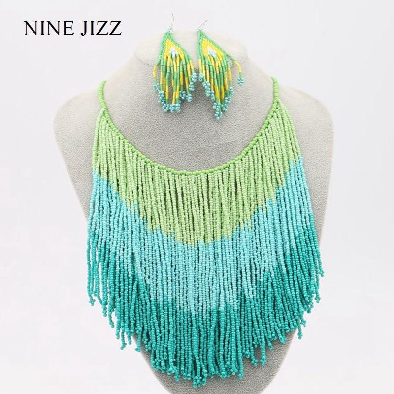 Ninejizz gradiente borla colar boêmio feito à mão grânulo colares para as mulheres do vintage grande declaração contas corrente simples jóias