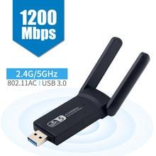 Sem fio ac1200 banda dupla usb3.0 rtl8812ac 1200mbps wlan usb wifi lan adaptador 802.11ac dongle com antena para o desktop do portátil