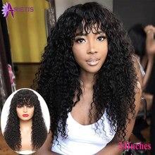 Ar encaracolado cabelo remy peruca, cabelo humano para mulheres negras, brasileiro, máquina completa com franja, pré selecionado, 8