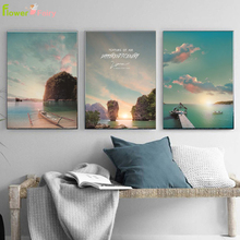 Seascape Painting Wall Art Canvas Painting Landscape Sea Boat Nordic Poster Scenery Beach Wall Pictures For Living Room Unframed