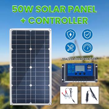 50W Panel słoneczny podwójne wyjście USB ogniwa słoneczne polikrystaliczny Panel słoneczny 10 20 30 40 50A kontroler do jachtu samochodowego 12V ładowarka do łodzi tanie i dobre opinie CN (pochodzenie) 42*28cm Monokryształów krzemu