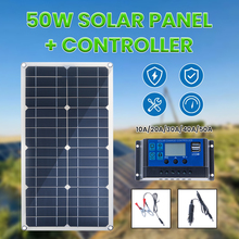 Pannello solare da 50W doppia uscita USB celle solari mono 10/20/30/40/50A Controller per caricabatteria per barca da 12V per Yacht per auto