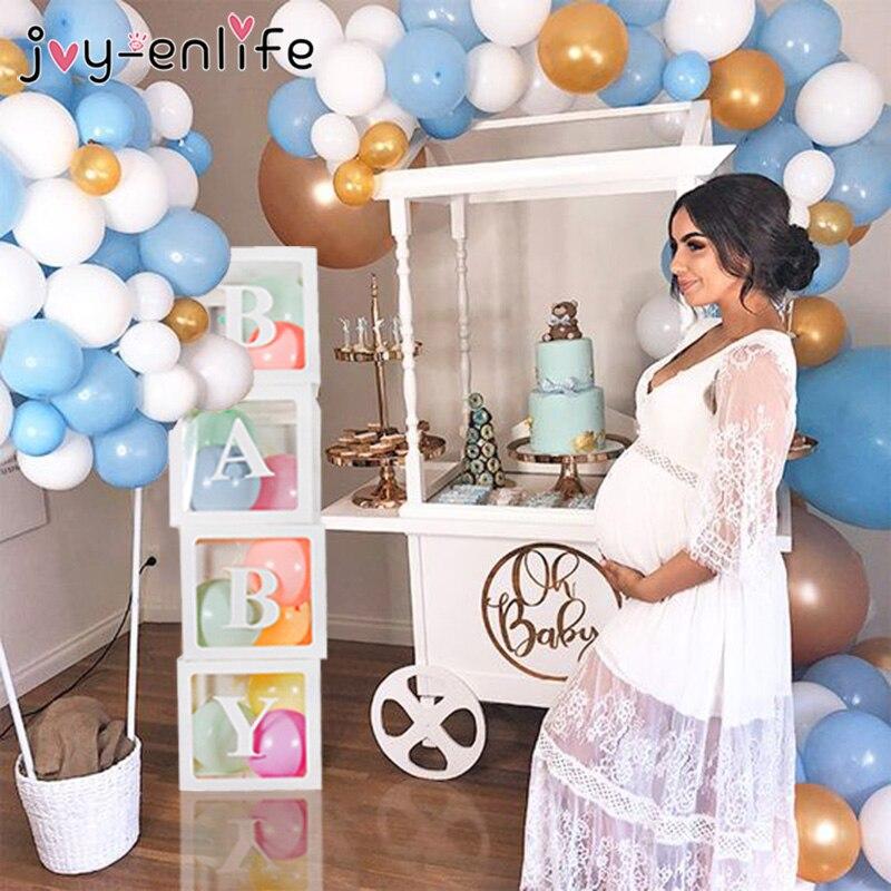 Amor Do Bebê Caixa De Armazenamento Transparente Balão Decorações Do Chuveiro de Bebê 1st Aniversário Decorações Do Partido Dos Miúdos Presentes Do Chuveiro Do Bebê Da Menina do Menino
