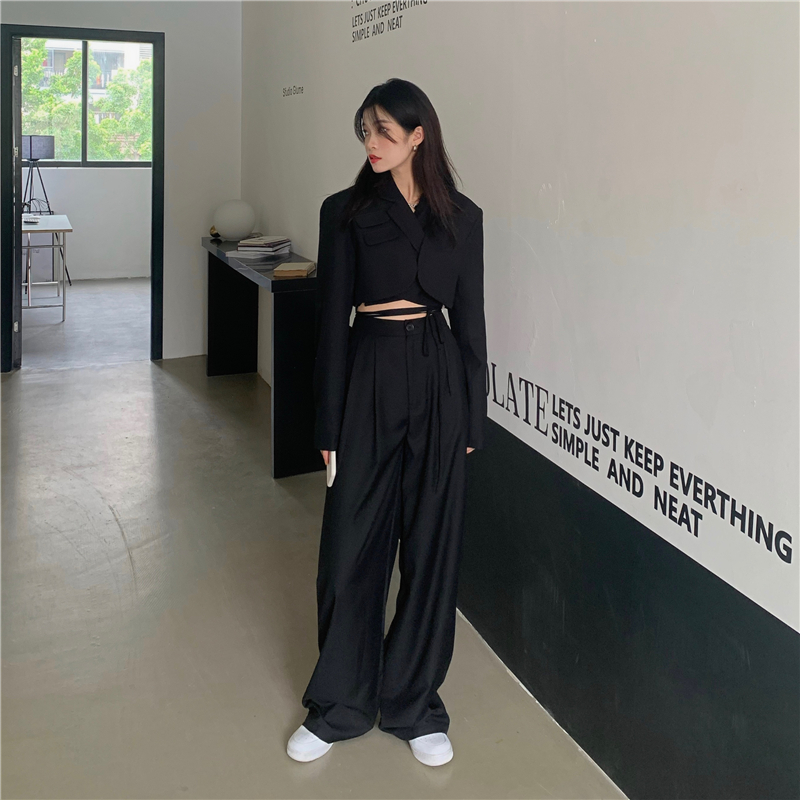 Design sense of navel long-sleeved small suit jacket, high waist drape, straight-leg casual mopping pants two-piece suit