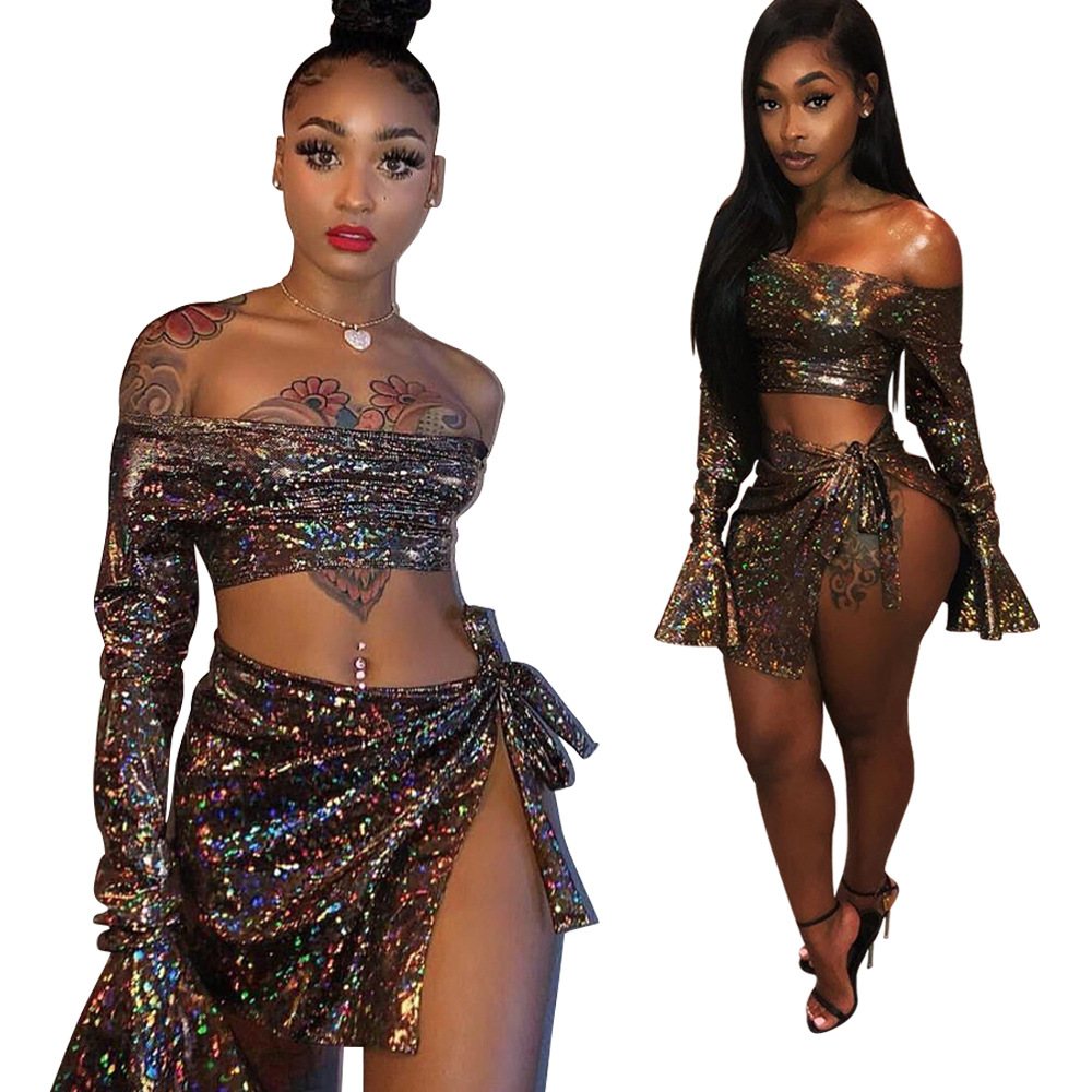 2019 Europe And America Nightclub Sexy Navel Tops Bandage Cloth Bow Colorful Diamond Tube Top Bell Sleeve Short Skirt Set