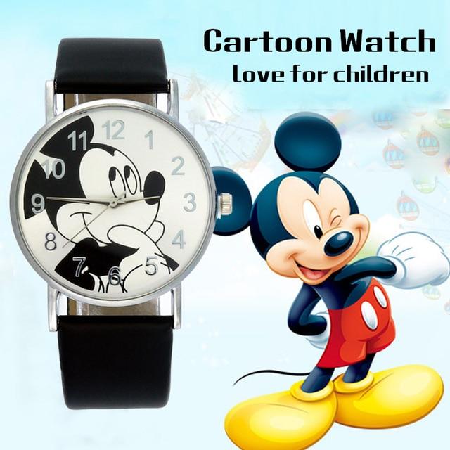 Disney Lovely Mickey mouse Children's Watches Girls Boys Gift Crystal Dress Children Quartz Wristwatches Kids Watch Clock