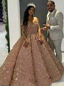 Bridal-Gowns Wedding-Dresses Dubai Sparkly Arabic Luxury Sequined Sweetheart Custom-Made