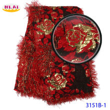 floral jacquard fabric Embroidered Brocade Lace for Wedding Party Dress High Quality Red Mr3151b(China)