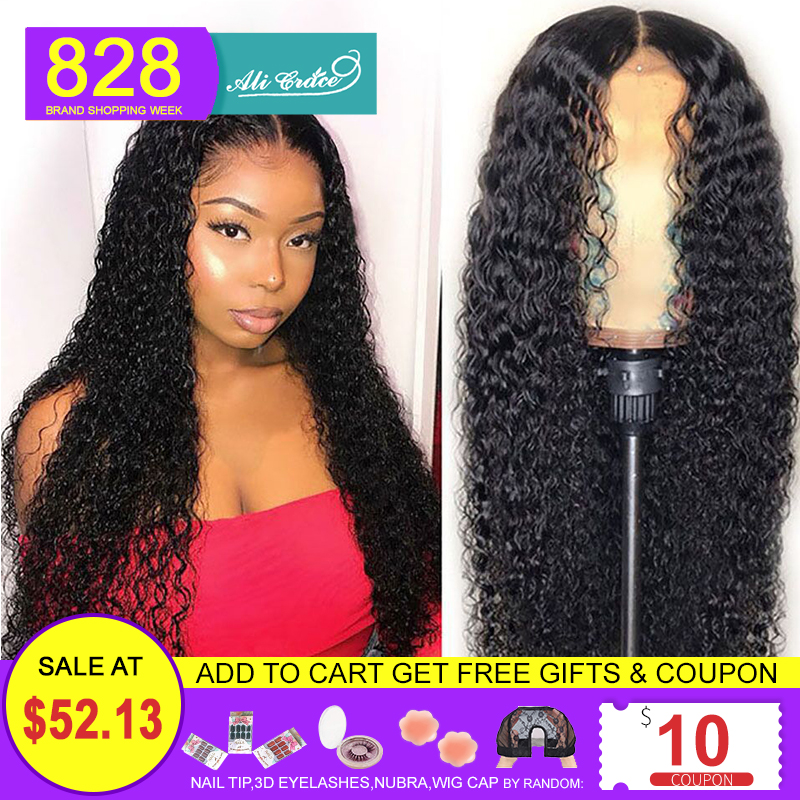 Wigs Human-Hair-Wigs Hairline Ali-Grace Curly Lace-Front Pre-Plucked 360-Lace Brazilian