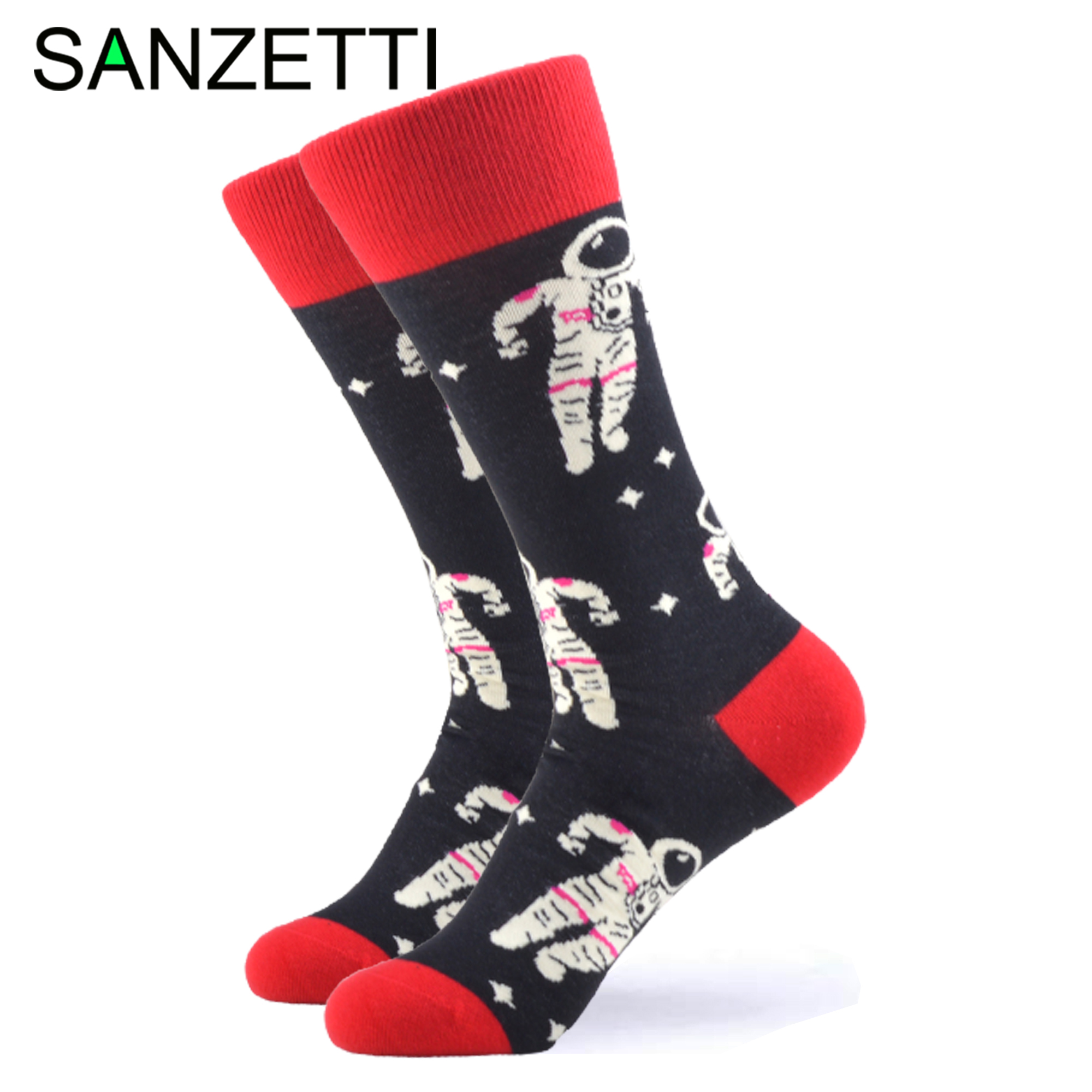 SANZETTI 1 Pair Happy Socks High Quality Men Colorful Comfortable Combed Cotton Astronaut Space Novelty Gift Wedding Dress Socks