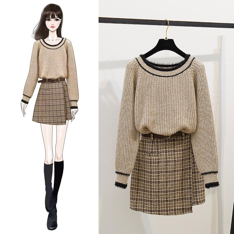 ICHOIX Korean Style 2 Piece Set Women Winter Set Knitted Sweater Skirt Set Student Two Piece Outfits Ladies Plaid Mini Skirt Set