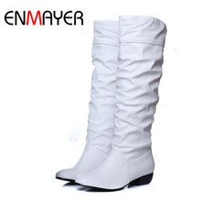 ENMAYER Plus size 43 fashion new arrival Winter Mid-Calf Women Boots Black White Brown flat heels half boots autumn Snow shoes 2015 winter autumn new arrive rhinestone mid calf boots women side zipper fashion round toe square heels shoes size 33 43 r974