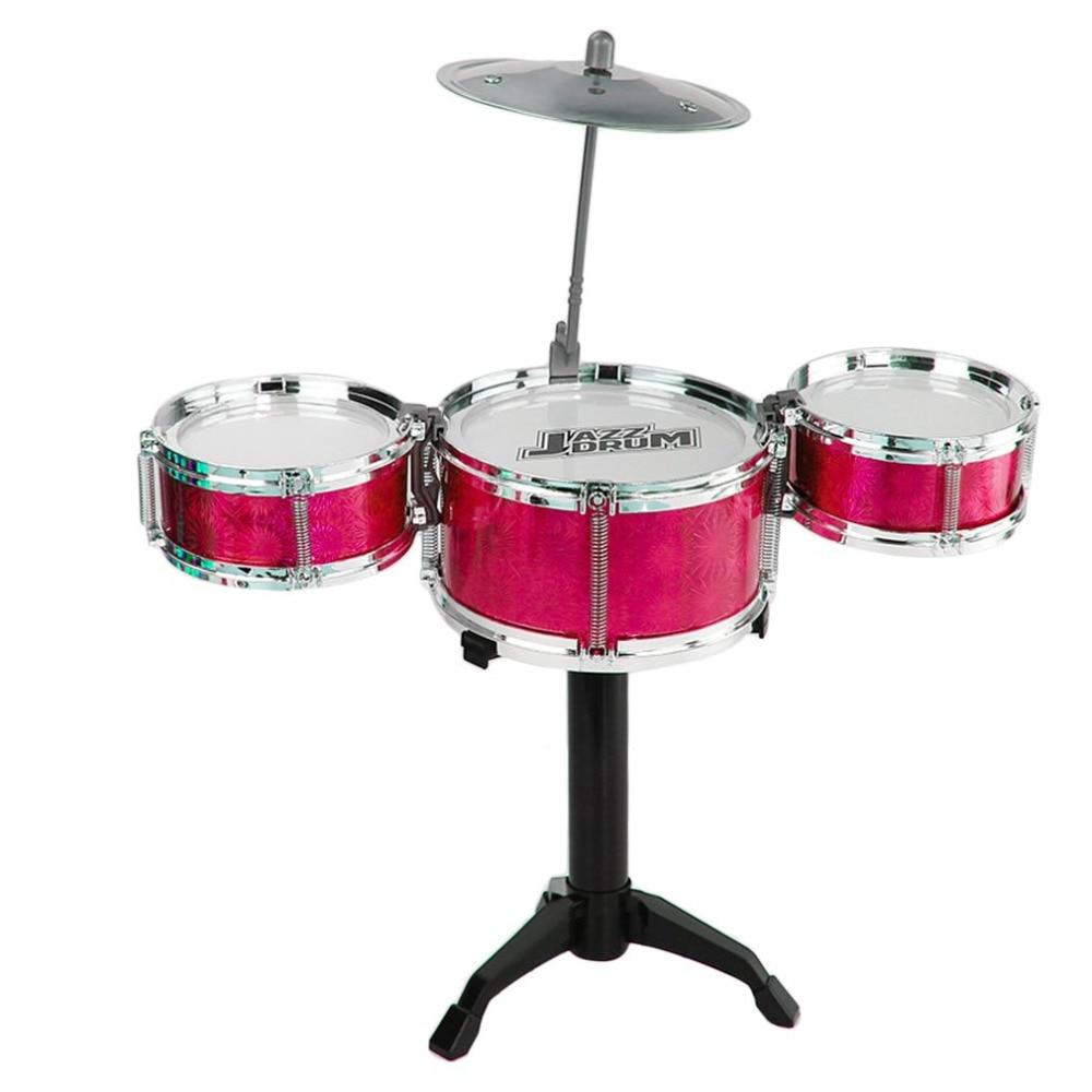 3-Piece Kids Drums Set Junior Kit Simulation Jazz Drum Percussion Musical Instrument Wisdom Development Toys For Children Gift