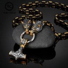 Nie Verblassen Männer Celtic Wolf Halsketten Viking Vegvisir Amulett Hammer Anhänger Nordischen Runes Anker Edelstahl König Kette Schmuck