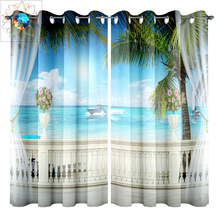 Blue Sea Ocean Luxury Blackout Curtains For Living Room 3D Window Curtain Bedroom Double Kitchen Outdoor Tende