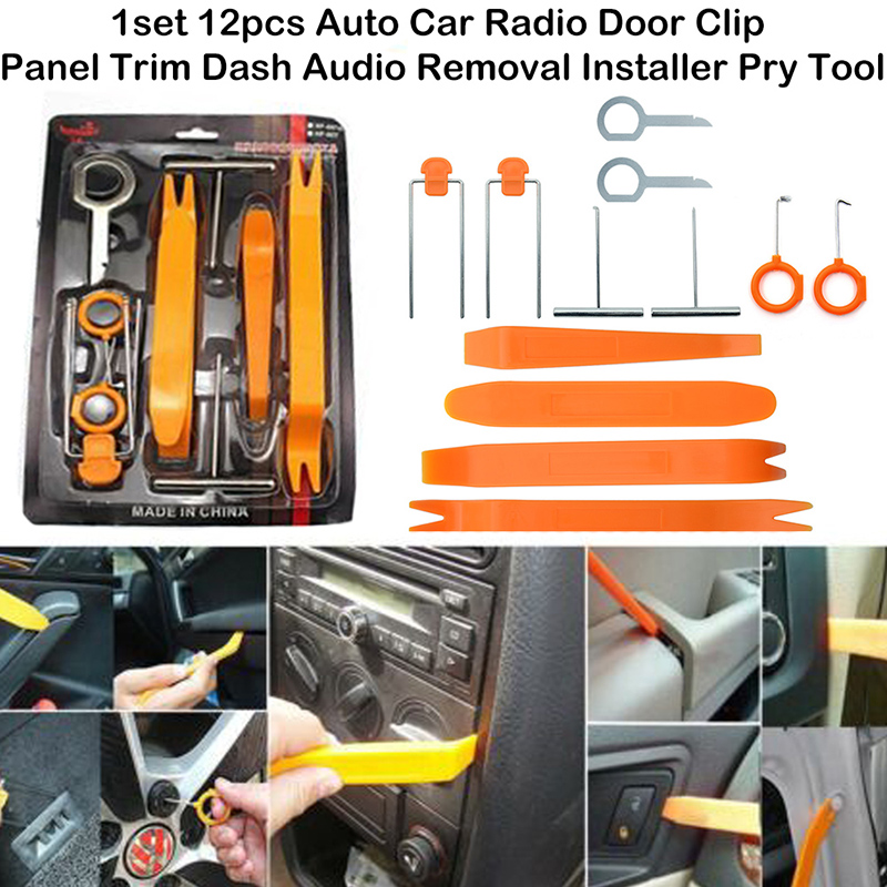 12Pcs Automobile Radio Panel Door Clip Dashboard Trim Removal Tools Removal Kit Repair Cockpit Pry Tool Accessories DIY Repair