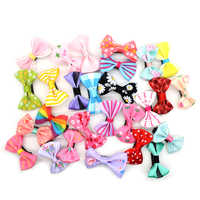 20Pcs/lot Hot Candy Color Bow Hairpin Solid/ Dot/ Flower Print Ribbon BB Hair Clips For Baby Girls Kids Hair Accessories