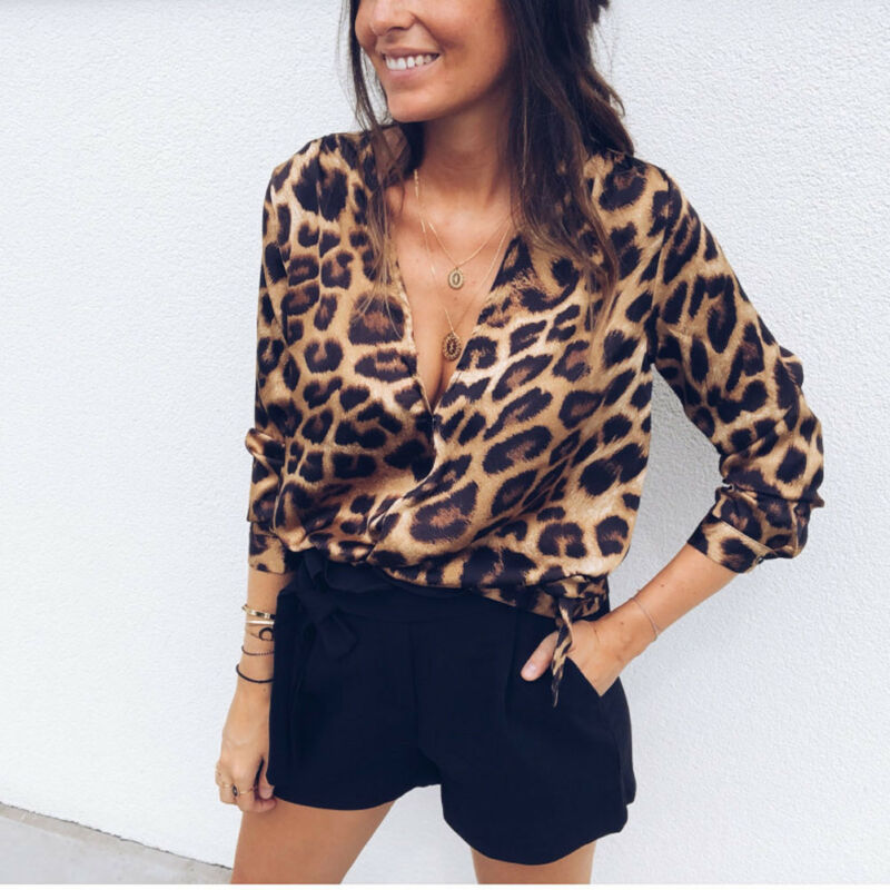 Womens Deep V-neck Blouse Sexy Leopard Print Long Sleeve Casual shirt Fashion Tops Blouse Oversize Loose Top Shirt Tops Clothing