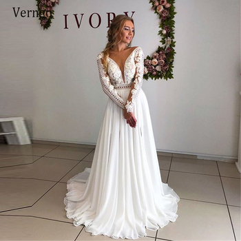 Verngo New Vintage Long Sleeves Wedding Dress Lace And Chiffon A Line Bride Gowns Backless Sexy Plus Size 2021 Bridal Dress plus size chiffon insert long sleeve a line dress