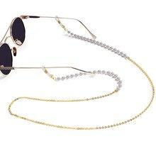 Imitação de pérolas óculos corrente máscara cordão óculos de sol corrente anti-perdido pendurado óculos corda estilo minimalista talão corrente óculos