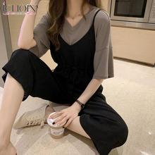 ICHOIX Casual Overall Set Women Summer Two Piece Set Fashion