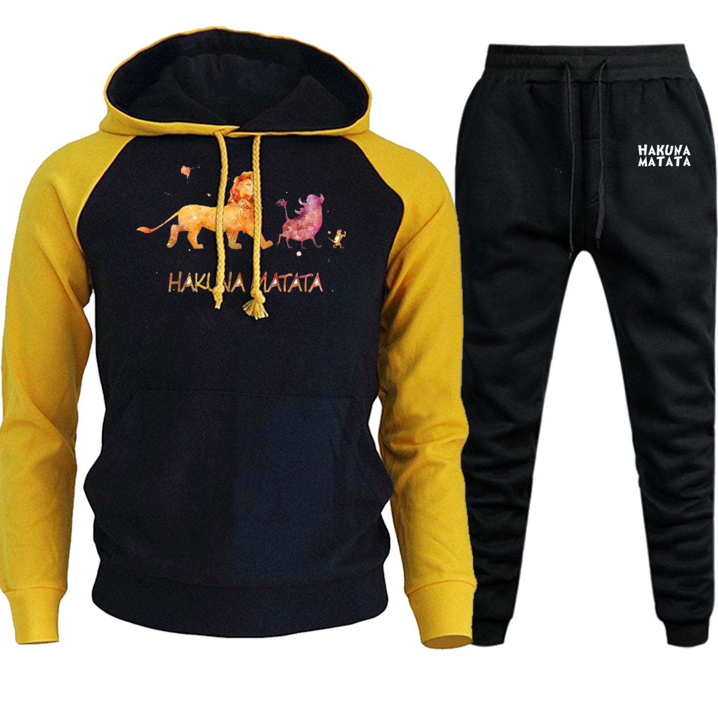 The Lion King Streetwear Cartoon Print Autumn Winter 2019 Hoodies Raglan Men Suit Casual Pullover Funny Hooded+Pants 2 Piece Set
