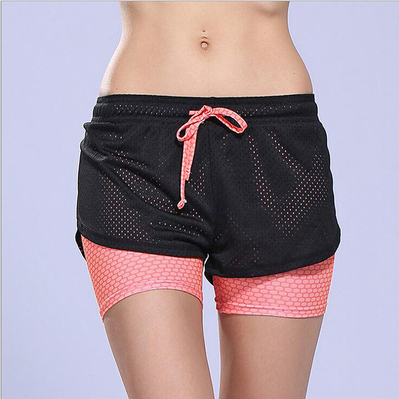 ESHINES Women's Summer Double Layer Running Shorts 2 In 1 Sexy Printed Short Black Yoga Sports Short Fitness Female Short Pants