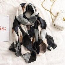Nouvelle écharpe de style coréen, écharpe colorée graphique femmes, Pashminas doux, châles et écharpes, hijab musulman Sjaal, impression de blocs de couleur, cape
