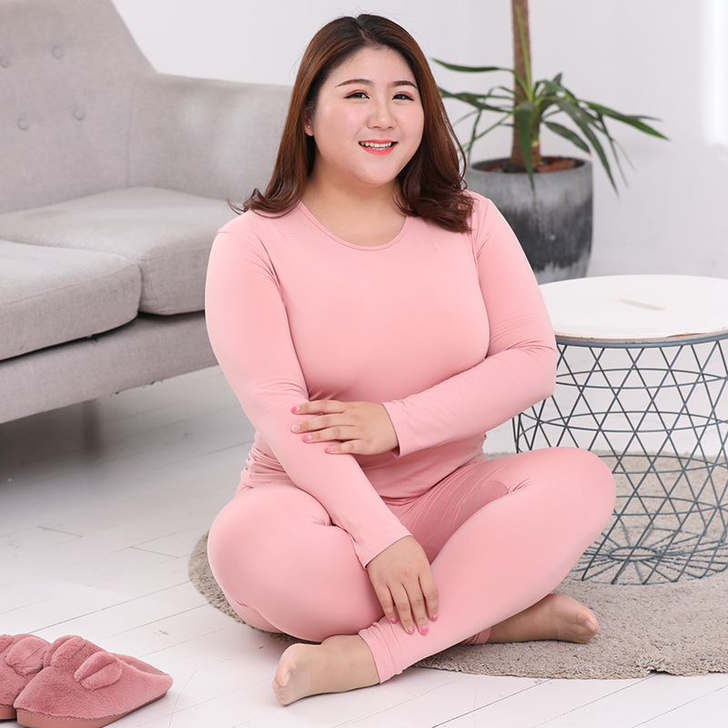 Large Size Thick Thermal Underwear Sets Women Winter Clothes O Neck Long Sleeve Breathable Women Tops&Trousers Plus Size L-6XL