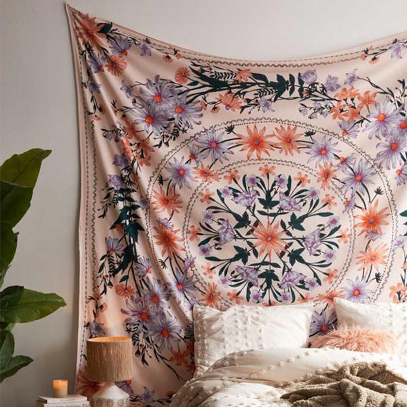Indien Mandala tapisserie tenture murale fleur psychédélique tapisserie tenture murale décor pour salon chambre bohème plante imprimer