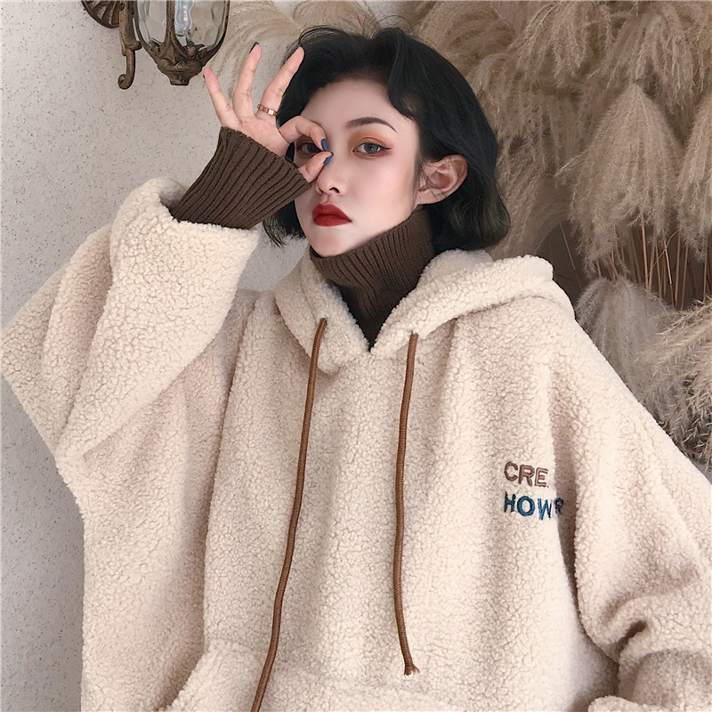 2020 Women Sweatshirt Warm Artificial Wool Hoodies Coat With Pullover Ladies Casual Winter Parka Outerwear Lamb Cashmere Coat