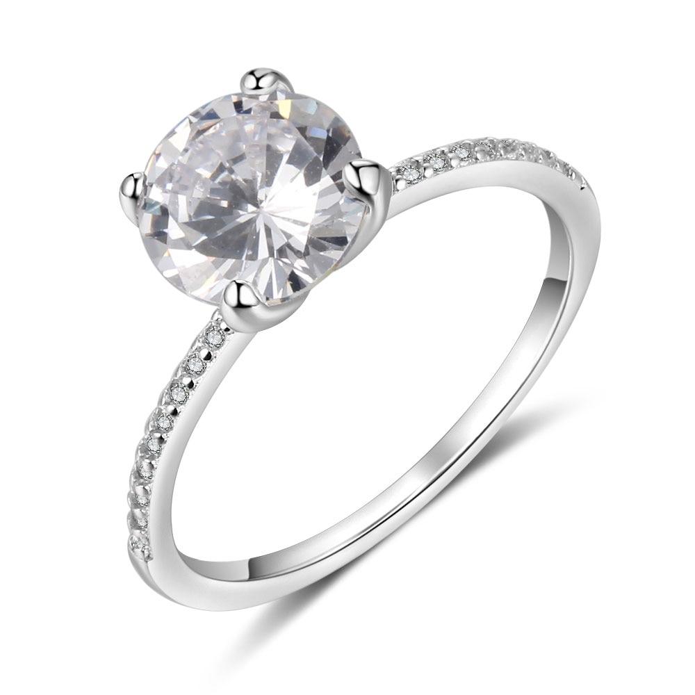 Promise кольцо из стерлингового серебра 925 с кубическим цирконием классические обручальные кольца для женщин подружки невесты подарки(JewelOra RI101321 - Цвет основного камня: R4022