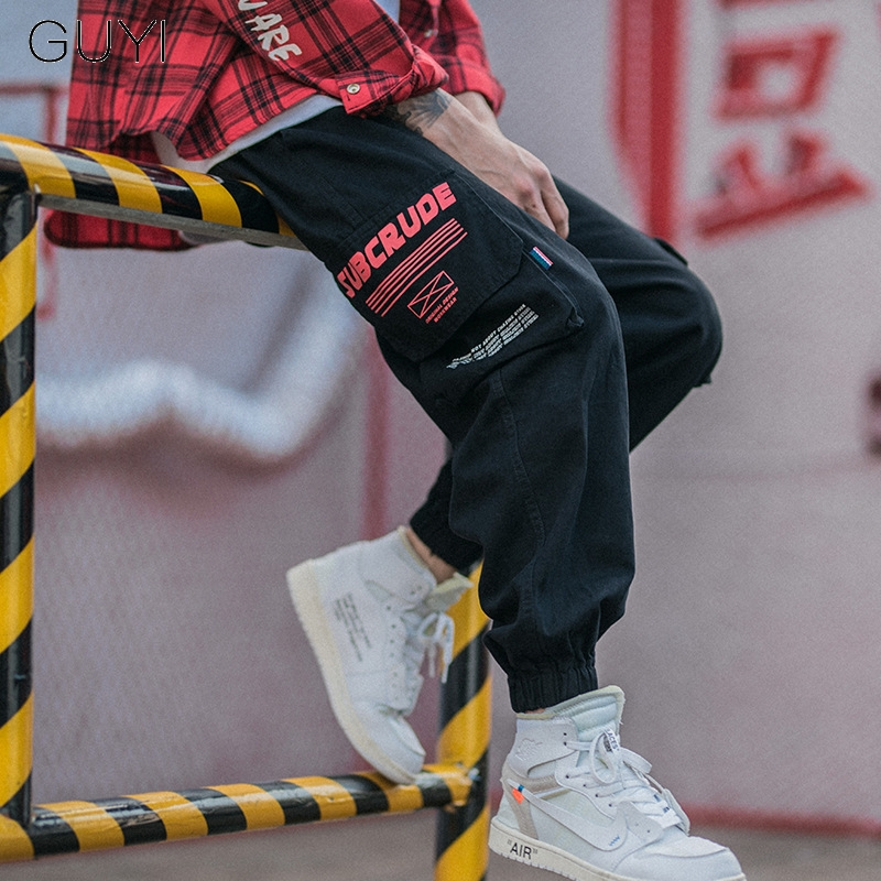 Chic Letter Casual Pockets Cargo Pants Men Black Trousers Male Drawstring Fashion Sweatpants Hip Hop Loose Cotton Streetwear