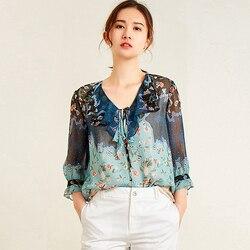 100% Silk Blouse Women Pullovers Top V Neck Printed Vintage Design Three Quarter Sleeve shirt Women Elegant Style New Fashion