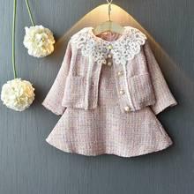 Doce moda princesa conjunto de roupas para meninas crianças bebê rendas vestido + manga longa jacekt casaco outwear 2 pçs ternos s9638