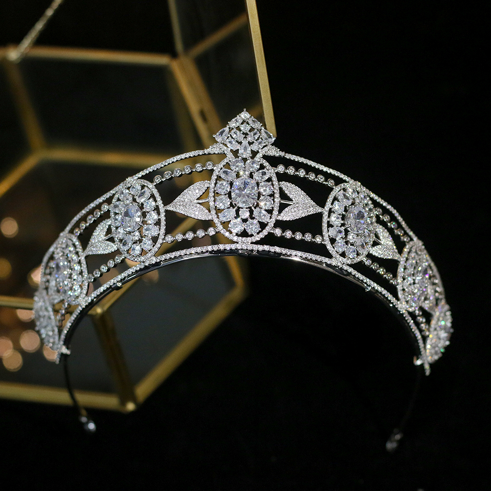 Parmalambe Европейский Винтажный дворец Принцесса Кристалл Циркон Свадебная Корона Серебряный головной убор невесты аксессуары для волос высо