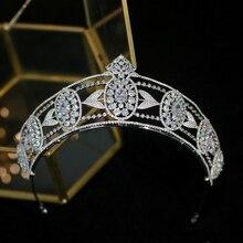 Parmalambe European vintage palace princess crystal zircon wedding crown silver headdress bride hair accessories high Quality